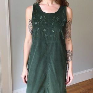 Green Courdery Embroidered Midi Dress